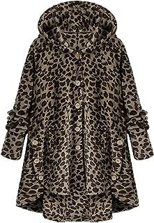 Leomodo Women Wide-Waisted Hooded Lambs Asymmetrical Hem Fashion Jacket