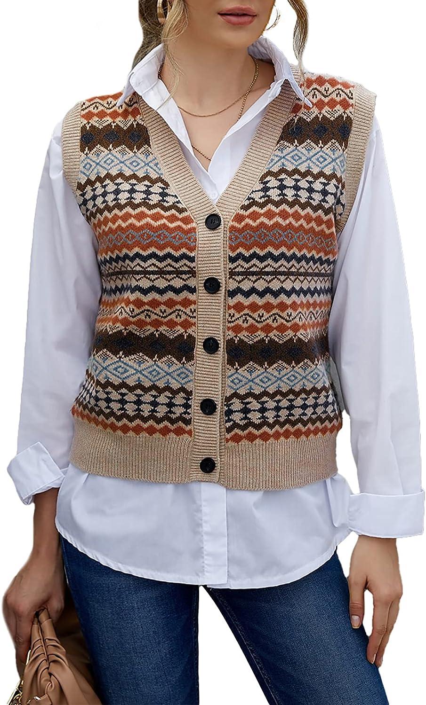 Astylish Women Sweater Sleeveless Knit Vest V Neck Button Down Tank Top