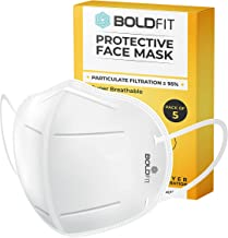 Boldfit Anti Pollution Cotton N95 Reuseable Unisex Face Mask (White, Without Valve, Pack of 5) Third Party Tested by manuf...