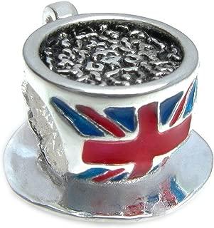 Sterling Silver British Tea Cup Flag Enamel European Style Bead Charm