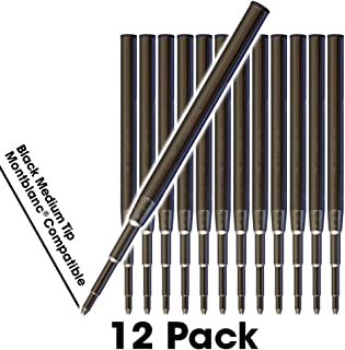 Jaymo - 12 - Black Montblanc Compatible Ballpoint Pen Refills - Smooth Writing German Ink with Medium .7 mm Tip - Compare to Montblanc Mystery Black 105150/116190/MB35093