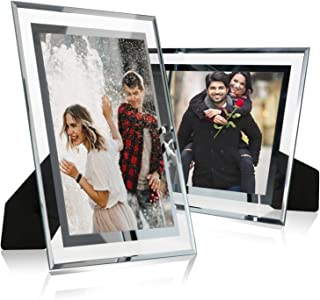 Cq acrylic 3.5x5 Glass Picture Frame,Silver Mirrored for Photo Display Stand on Tabletop,Pack of 2