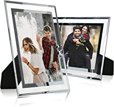 Cq acrylic 5x7 Glass Picture Frame,Silver Mirrored for Photo Display Stand on Tabletop,Pack of 2