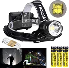 LED Rechargeable Headlamp Super Bright XHP70.2 Chip Headlight with Battery and USB Cable Charger, 3 Modes Zoomable Head To...
