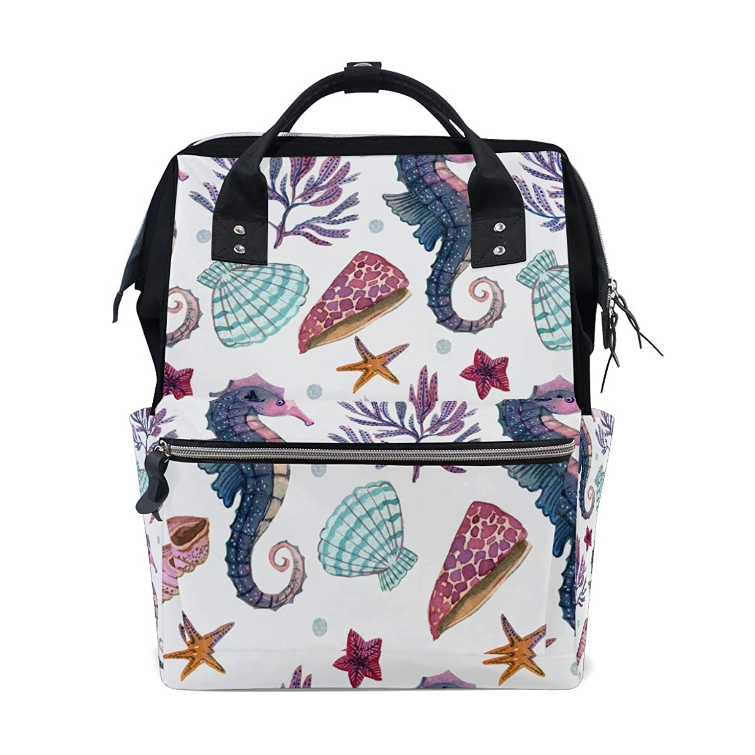 Seahorses Shell Conch Starfish School Backpack Large Capacity Mummy Bags Laptop Handbag Casual Travel Rucksack Satchel For Women Men Adult Teen Children