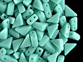 24pcs Czech Pressed Glass Beads Tango, 2-Hole, Triangle, 6x6x8 mm, Opaque Turquoise Green
