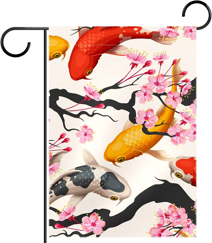 huiyueqiche Cheap bargain Koi Fish and Sakura Cherry x Pattern Garden 12 Max 41% OFF Flag