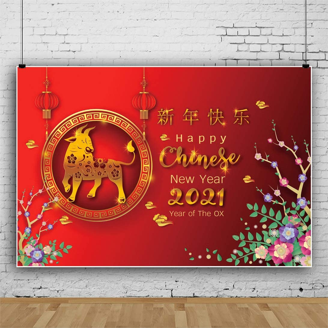 OFILA Happy Chinese New Year 2021 Backdrop 10x6.5ft 2021 Chinese Spring Festival Photography Background Year of The Ox Backdrop Chinese Lunar New Year Background Video Backdrop
