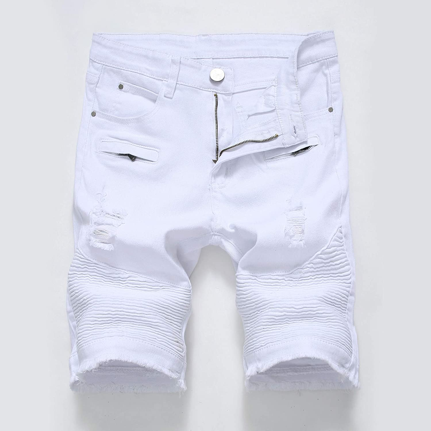 New arrival VooZuGn Mens White Denim Shorts Las Vegas Mall Stretch Pants Middle Motorcycle
