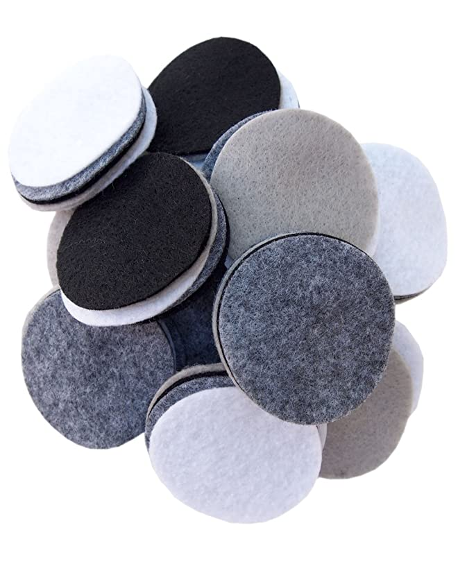 Playfully Ever After 2.5 Inch 48pc Felt Circles Color Combo Pack with Black, White, Gray, Charcoal