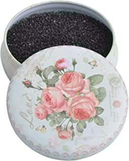 Eye Brush Cleaner, Color Removal Sponge, Quickly Shaking Off Eyeshadow Power Colors on Black Coarse Sponge, White Round Rose Case