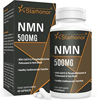 NAD+ Supplement 750mg Contains NMN 500mg, Trans-Resveratrol -Anti-Aging   Antioxidant Supplement (60 Capsules)