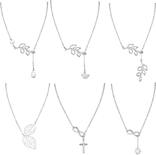6PCS Y Lariat Necklaces for Women Girls Olive Leaf Infinity Cross Faux Pearl Drop Pendant Necklace Chain Set Silver Tone
