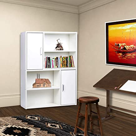 Vogue Display Unit with 4 Shelves and 2 Single Door Cabinet, Brown - H 1060 mm x W 800 mm x D 240 mm