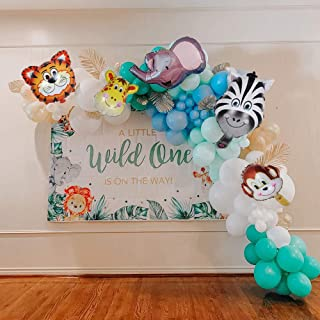 Jungle Safari Party Supplies 103pcs Blue White Apricot Balloon Arch Garland Kit, 5pcs Jungle Animals Balloons, Lake Blue B...