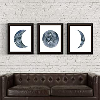Moon Phases Set of 3, Unframed, Watercolor Prints