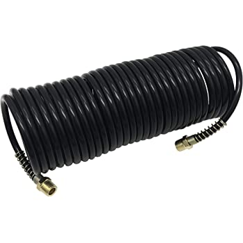 Recoil Air Hose Air Line OD 3//8 Inch Portable Polyurethane Coil Hose with 1//4 Inch Quick Fittings for Air Compressor Heavy Duty Sprayer and Industrial Usage 25FT