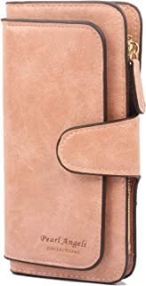 RFID Womens Wallets Fashion PU Leather Trifold Clutch Long Ladies Purse Credit Card Holder Wallet Organizer Pink