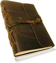 HANDMADE LEATHER JOURNAL for Men & Women | Cotton drawstring bag | Pen holder | Unlined Thick Paper | Best for Travel Diary & Journals to Write in (8