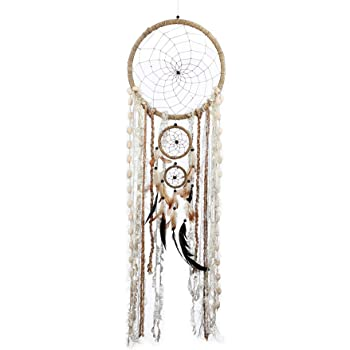 """Caught Dreams   Boho Style Dream Catcher   Handmade Bedroom Wall Decoration   Craft Ornament Gift   Bohemian Influenced Natural String with Beads & Feathers   10.5"""" Diameter & 36"""" Long"""