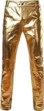 ZEROYAA Mens PU Faux Leather Side Zipper Moto Jeans Style Metallic Pants/Straight Leg Trousers