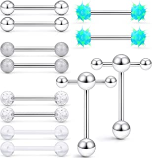 SCERRING 6 Pairs 14G Stainless Steel Soft Silicone Clear Acrylic Tongue Teaser Double Barbell with Slave Ring ings Ring Bo...