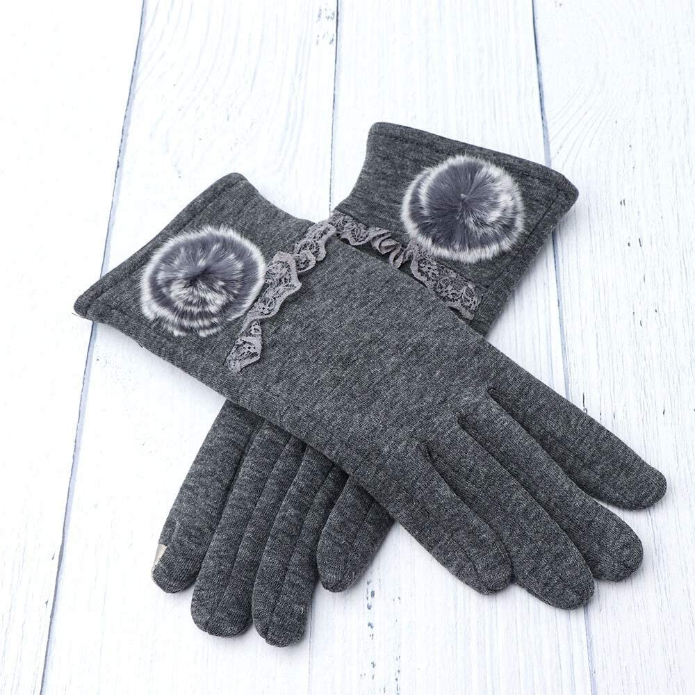 FASGION New Winter Female Thermal Touch Screen Gloves Soft Floral Ball Cotton Mittens Double Thick Plush Wrist Women Driving Gloves (Color : Gray)