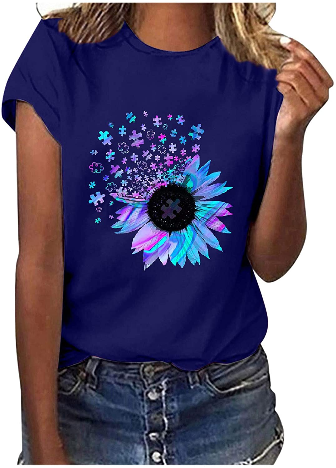 Women Tops Plus Size Summer Casual Short Sleeve Sunflower Graphic Tees Workout Shirts Blouses Womens Tshirts Loose Fit