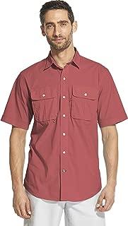 IZOD Men's Surfcaster Short Sleeve Button Down Solid Fishing Shirt