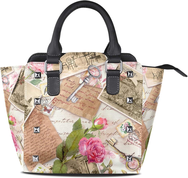 My Little Nest Women's Top Handle Satchel Handbag Vintage Photos Stamps pink Flowers Ladies PU Leather Shoulder Bag Crossbody Bag