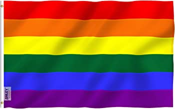 Anley EverStrong Series 3x5 Foot Rainbow Flag (Sewn Stripes) Heavy Duty Nylon - 4 Rows of Lock Stitching - Gay Pride Flags with Brass Grommets 3 X 5 Ft