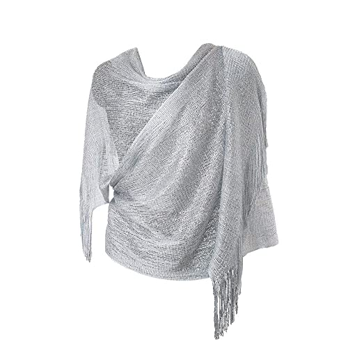 Light Silver//Grey Satin Shawl Pull Through Wrap//Stole//Bolero//Pashmina New Tags