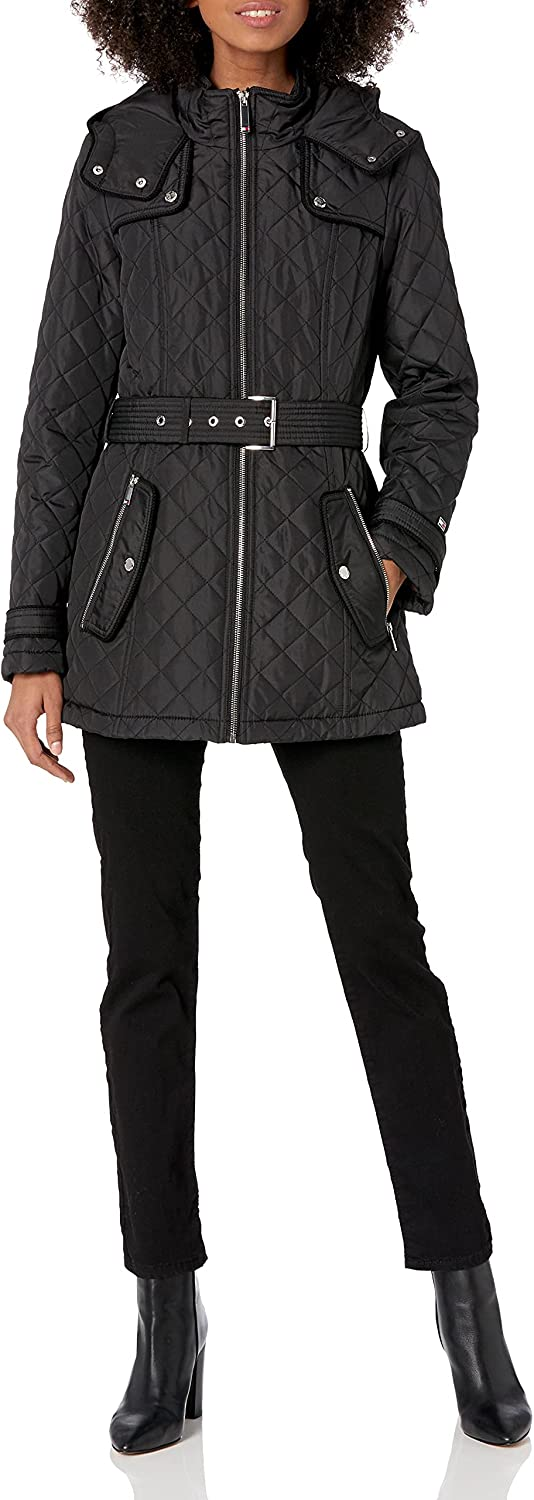 Tommy Hilfiger Surprise price Max 52% OFF Women's Quilted Jacket Belt Tie Waist with
