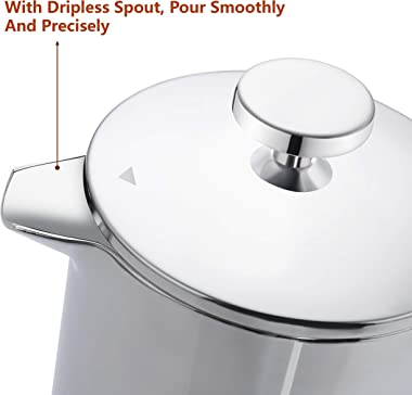 Magicafé French Press Coffee Maker – Single Serve 1 Cup Small Stainless Steel Thermal Double Walled French Press 350ML/12OZ