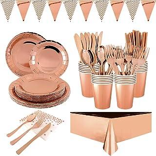 Furuix 194 pcs Rose Gold Party Vaisselle Jetable Feuille D'aluminium Assiette en Papier Serviette en Papier Coupe Vaissell...