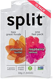 Split Nutrition Almond Butter and Raspberry Squeeze Packs, Gluten-free, Non-GMO, Plant-Based, Energy Fast Snack, Pack of 10 (1.34 ounce each)