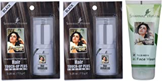 Shahnaz Husain Hair Touch-Up Plus Black - 7.50GM (Pack of 2) and Tulsi Neem Face Wash - 50GM