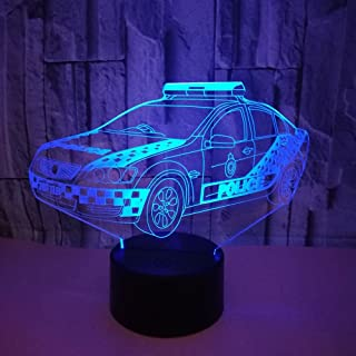 YTDZ 3D Police Car Night Light 7 Colors Changing USB Power Touch Switch Decor Lamp Optical Illusion Lamp LED Table Desk Lamp Children Kids Brithday