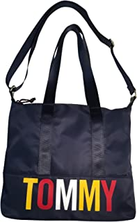 Tommy Hilfiger Nylon Tote Model 6948948 423 Navy Blue with Tommy on Front