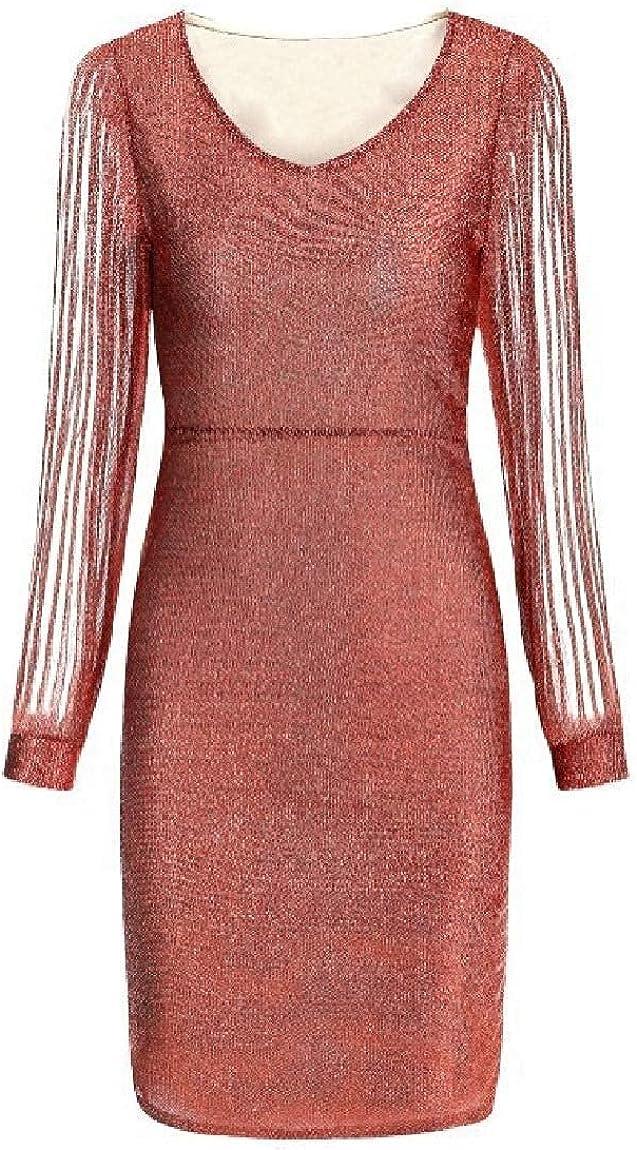 Women Slim Fitted Stylish Shiny V Neck Long Sleeve Pencil Sheath Dress