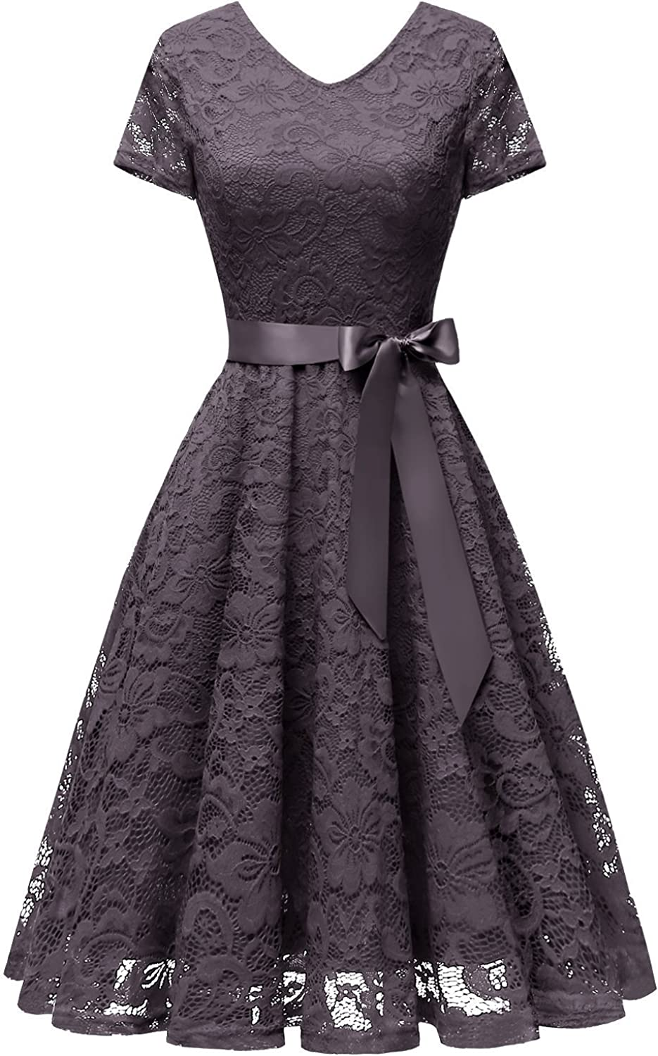 Bridesmay Women's Bridesmaid Dresses Floral Lace Cocktail Dress with Short Sleeve