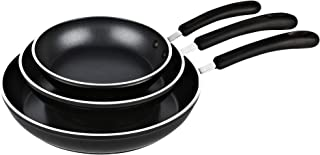 Cook N Home 02476 Nonstick, 10,12 inch 3 Piece Frying Saute Pan Set with Non-Stick Coating Induction Compatible Bottom, 8