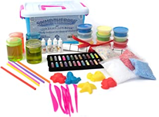 Slime Therapy Kit - Crystal Slime, Foam Slime, Magic Sand, Air Dry Clay, Accessories, Macaroon Foam Balls, Tool Sets, Glitters, Fragrances, Molds, Straws, Work Area Mat, Art Craft, Kids 6 and Older