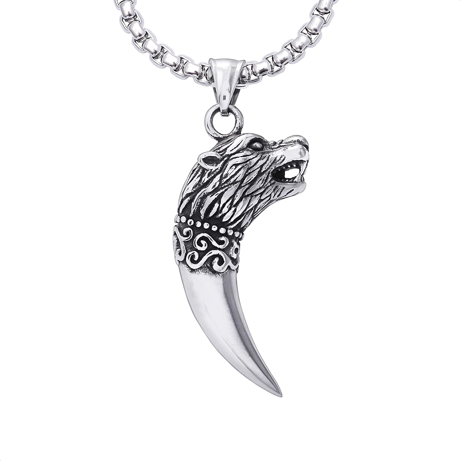 HAQUIL Wolf Tooth Necklace, Stainless Steel Viking Wolf Fang Pendant, Wolf Gift