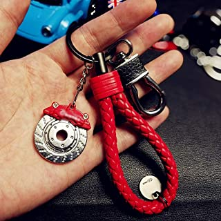 QYLOZ Car Modified Key Chain Unisex Waist Hanging Key Chain String Bag Metal Pendant Gift (Color : Red)