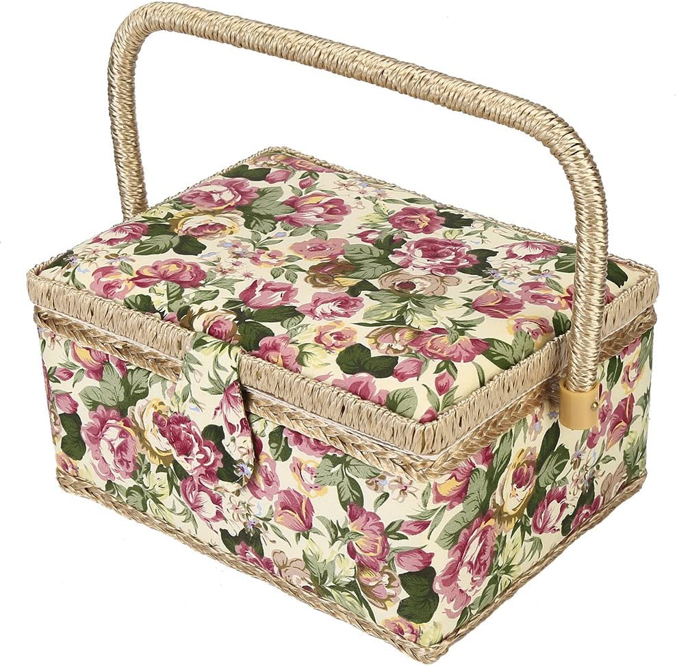 Sewing Basket with Rose Floral Print Design Craft New product type N Tool Limited time trial price