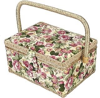 Sewing Basket,Large Sewing Basket,Sewing Kit Storage Box, 260° flexible handle,Wood bottom board Household Storage Box(3Colors)(Rose)