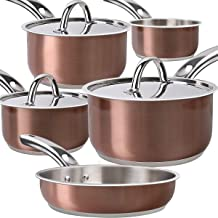 Lightning Deal Induction Cookware Set,Cooking Pot and Pan Set,Tri-Ply Stainless Steel NonStick Copper Pot,Rustproof & Oven & Dishwasher Safe,PFOA Free,FDA, Holiday Kitchen Christmas Gifts(Rose Gold)