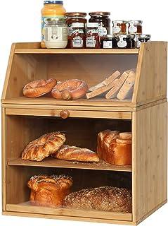 X-cosrack Grande boîte à pain en bambou avec fenêtre transparente et compartiment réglable pour plan de travail de cuisine