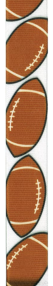 Offray Grosgrain Football Craft Ribbon, 7/8-Inch Wide by 25-Yard Spool, Brown/White